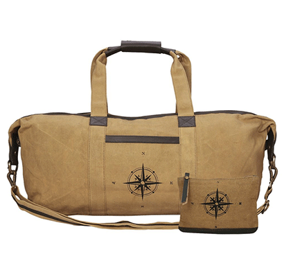 NEUDIS Genuine Leather & Recycled Stone Washed Canvas Duffle Bag for Gym & Travel - Compass - Brown