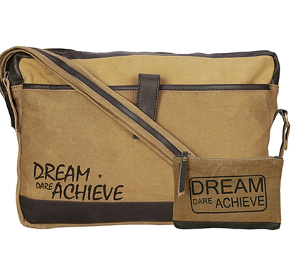 NEUDIS- LAPTOP1ACHIEVE, Genuine Leather & Recycled Stone Washed Canvas Sleek Laptop Messanger Bag - Dream Dare Achieve - Brown