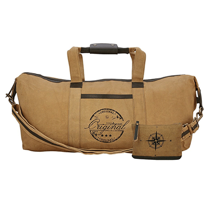 NEUDIS Genuine Leather & Recycled Stone Washed Canvas Duffle Bag for Gym & Travel - Original - Brown