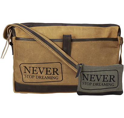 NEUDIS - LAPTOP1DREAMING, Genuine Leather & Recycled Stone Washed Canvas Sleek Laptop Messanger Bag - Never Stop Dreaming - Brown