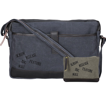NEUDIS - LAPTOP1AGILE, Genuine Leather & Recycled Stone Washed Canvas Sleek Laptop Messanger Bag - Scrum Agile - Blue