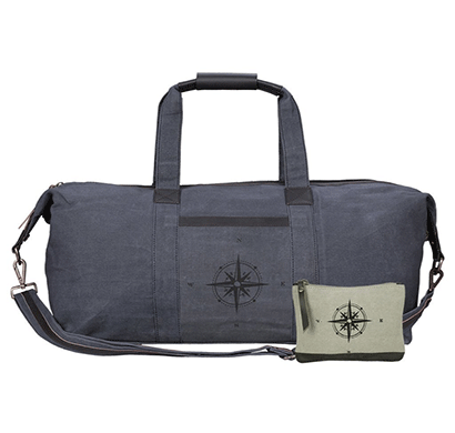 NEUDIS Genuine Leather & Recycled Stone Washed Canvas Duffle Bag for Gym & Travel - Compass - Blue
