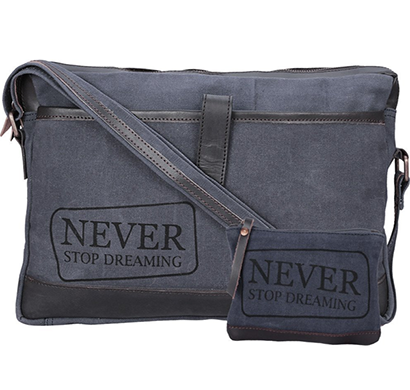 NEUDIS - LAPTOP1DREAMING, Genuine Leather & Recycled Stone Washed Canvas Sleek Laptop Messanger Bag - Never Stop Dreaming - Blue