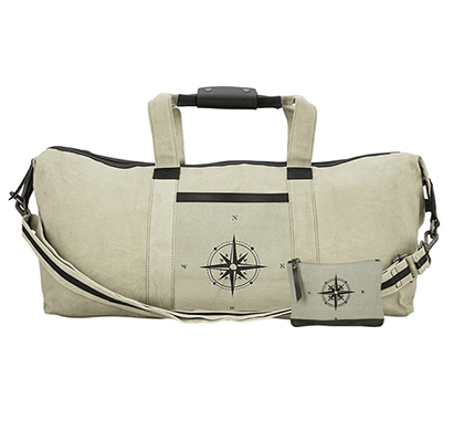 neudis genuine leather & recycled stone washed canvas duffle bag for gym & travel - compass - beige