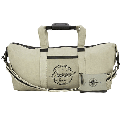 NEUDIS Genuine Leather & Recycled Stone Washed Canvas Duffle Bag for Gym & Travel - Original - Beige