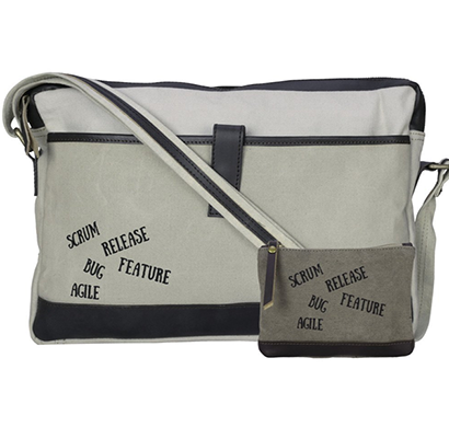 neudis - laptop1agile, genuine leather & recycled stone washed canvas sleek laptop messanger bag - scrum agile - beige
