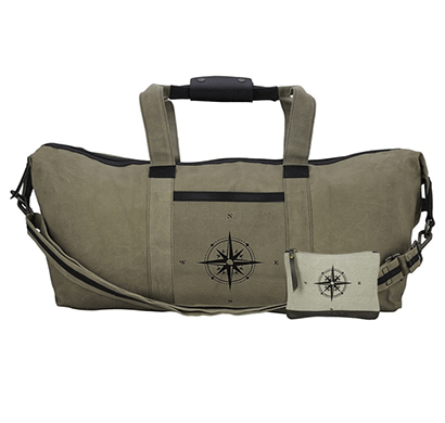 NEUDIS Genuine Leather & Recycled Stone Washed Canvas Duffle Bag for Gym & Travel - Compass - Green