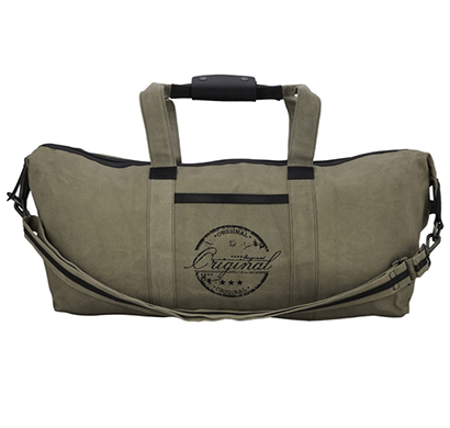 neudis genuine leather & recycled stone washed canvas duffle bag for gym & travel - original - green