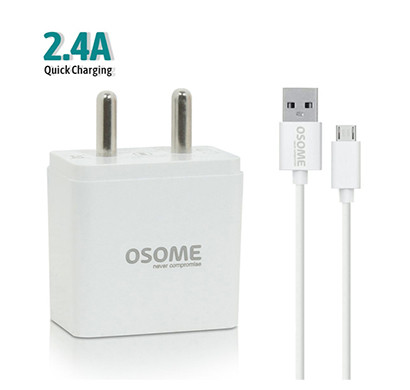 osome (hero p2.4a) wall charger dual usb ( white)