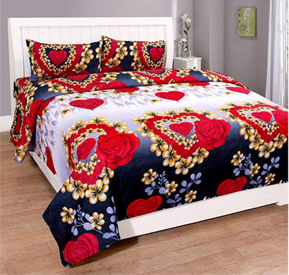 Panipat Direct Microfiber (PDDB01) Multicolor Double Bed Sheet With Two Pillow Covers