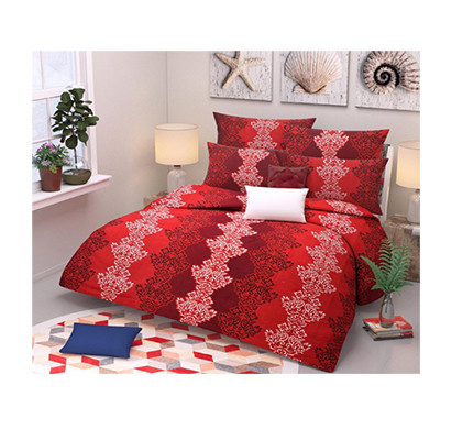 Panipat Direct (PDDB01) Microfiber Double Bed Sheet With Two Pillow Covers ( Red)