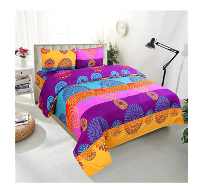 Panipat Direct (PDDB01) Microfiber Double Bed Sheet With Two Pillow Covers ( Multicolor)