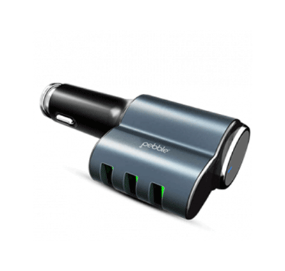 pebble pcc3m 3 usb car charger with in-built mono earpod