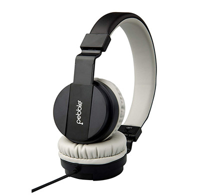 pebble echo extra bass stereo wired headphone with mic (black,mocha)