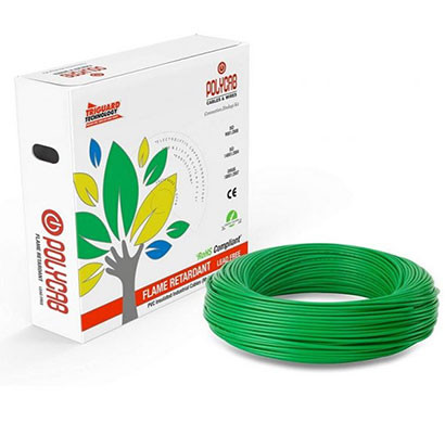 POLYCAB (0.75sq mm) FRLF PVC insulated Single core unsheathed industrial cable 90 mtr (Green)