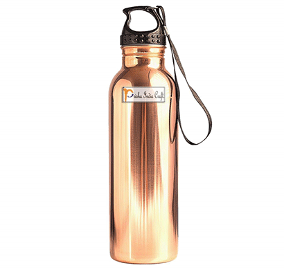 Prisha India Craft Pure Copper Water Bottle with Plastic Loop Cap Handmade Joint Free and Leak Proof Sports,Gym,Yoga Water Bottle/ Capacity 900 ML