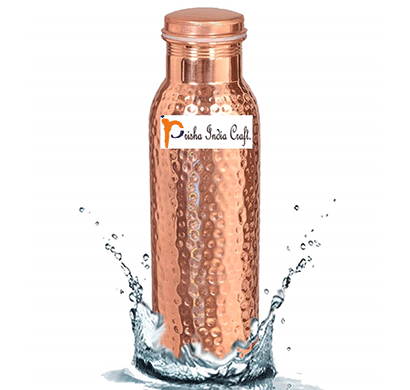 prisha india craft traveller's pure copper water bottle ayurveda health benefits - bottle,capacity 900 ml