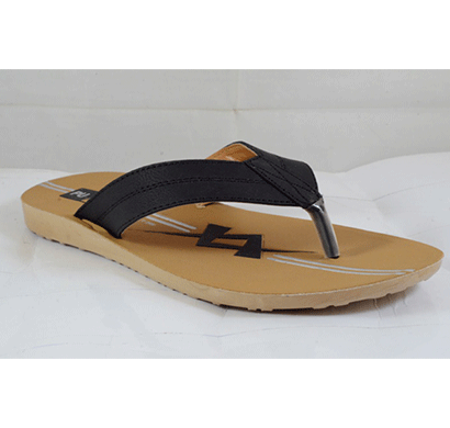 pu hills 7 to 10 size v - shape men slipper black