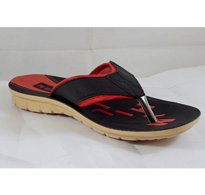 PU Hills 7 To 10 Size v - shape Men Slipper Black Red