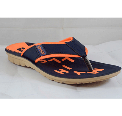 PU Hills 7 To 10 Size v - shape Men Slipper Blue Orange