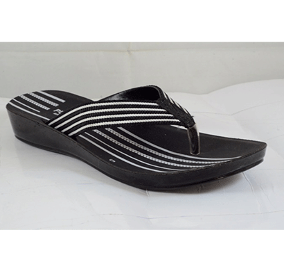 PU Hills 5 To 10 Size v - shape Slipper Black White