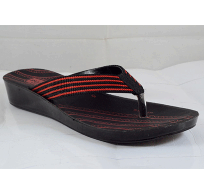 PU Hills 5 To 10 Size v - shape Slipper Black Red
