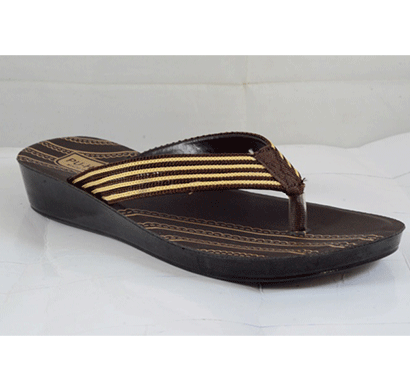 PU Hills 5 To 10 Size v - shape Women Slipper Brown