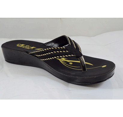 PU Hills 5 To 10 Size v - shape Women Slipper Black