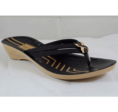 PU Hills 5 To 8 Size v - shape Men Women Slipper Black