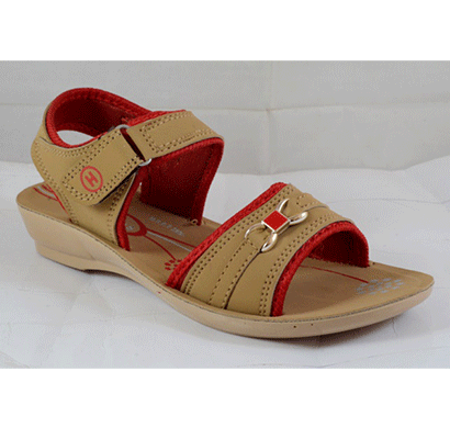 PU Hills 5 To 8 Size Women Sandal Tan Red
