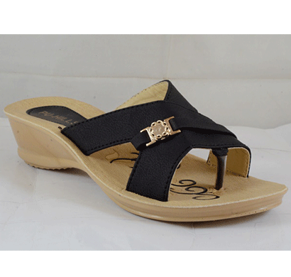 PU Hills 5 To 8 Women Slipper Black