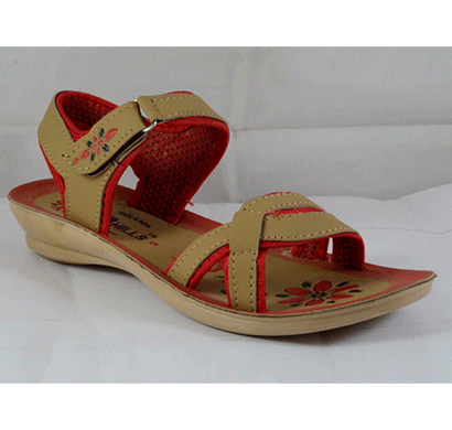 pu hills 5 to 8 women sandal tan red