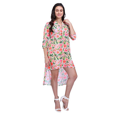 ROSE BLOOM LONG SHORT HEM DRESS