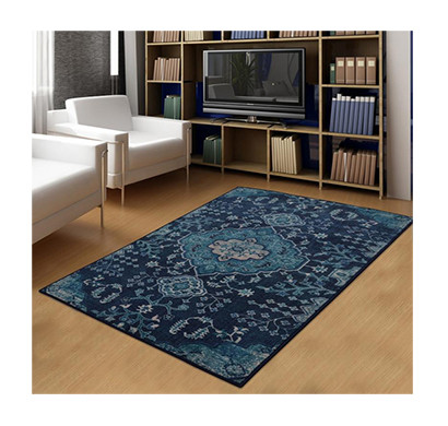 rugsmith (rs000012) rug & carpet blue color premium qualty traditional pattern polyamide nylon blue haze rug area rug