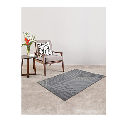 rugsmith (rs000050) rugs & carpets grey color premium qualty geometrical pattern polyamide nylon linear rug area rug (size 3x5)
