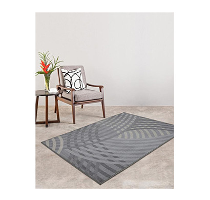 rugsmith (rs000051) rugs & carpets grey color premium qualty geometrical pattern polyamide nylon linear rug area rug (carpet size 4 x 6)