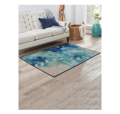 rugsmith (rs000053) rugs & carpets glossy blue color premium qualty modern pattern polyamide nylon luminous rug area rug (carpet size 3 x 5)