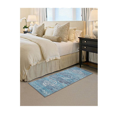rugsmith (rs000061) rugs & carpets teal grey color premium qualty traditional pattern polyamide nylon mirage rug runner(size standard)