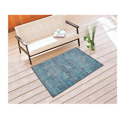 rugsmith (rs000062) rugs & carpets teal grey color premium qualty traditional pattern polyamide nylon mirage rug area rug (size 3 x 5)