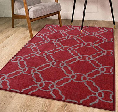 rugsmith (rs000218) red & ivory color premium qualty classical pattern polyamide nylon kerala rug area rug