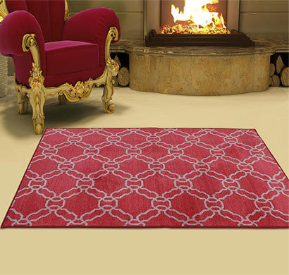 rugsmith (rs000219) red & ivory color premium qualty classical pattern polyamide nylon kerala rug area rug