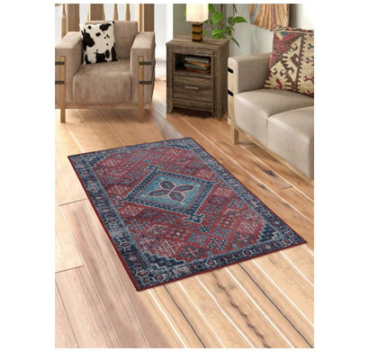 rugsmith (rs000164) rugs & carpets maroon color premium qualty classical pattern polyamide nylon faded diamond rug area rug