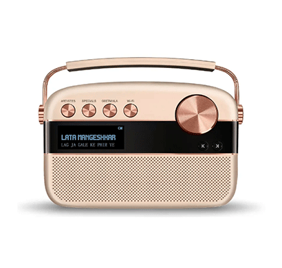 saregama carvaan 2.0 digital audio player with wi-fi 15000+ songs/ 150+ daily updated wi-fi based audio stations/ fm-am radio/ bluetooth/usb/champagne gold & rose gold