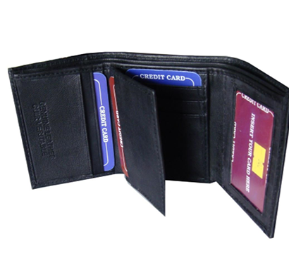 Saw - 1004, Tri-Fold Wallet Leather, Black