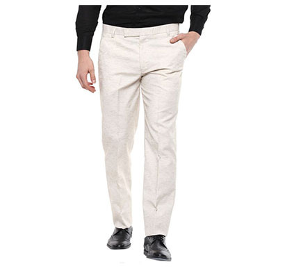 shaurya-f regular fit men linen trousers/ size 36/ beige