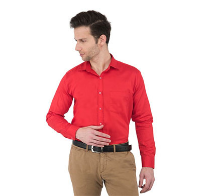shaurya-f men's solid formal shirts (red)