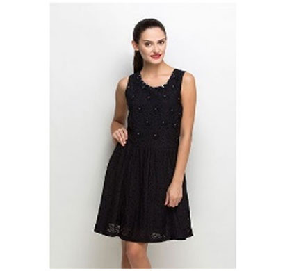 silver ladies criss-cross lace skater dress polyester (black)