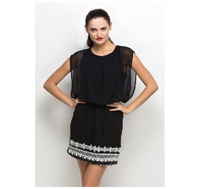 silver ladies bottom embroidered dress polyester (black)