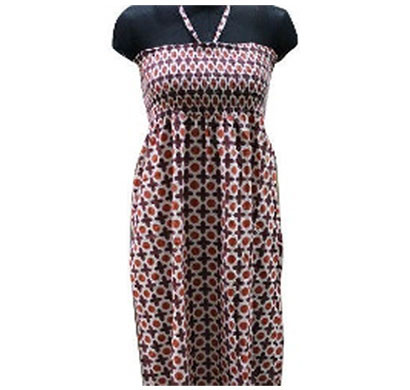 silver ladies brown red cotton dress