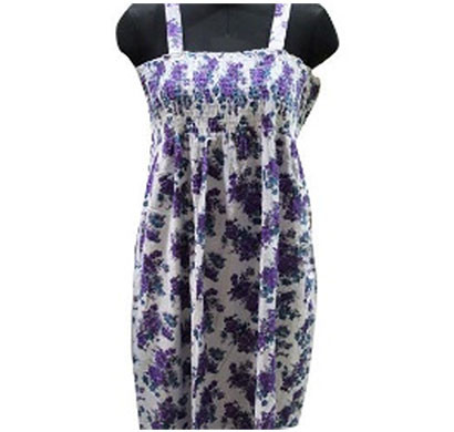 silver cotton ladies floral printed purple white dress